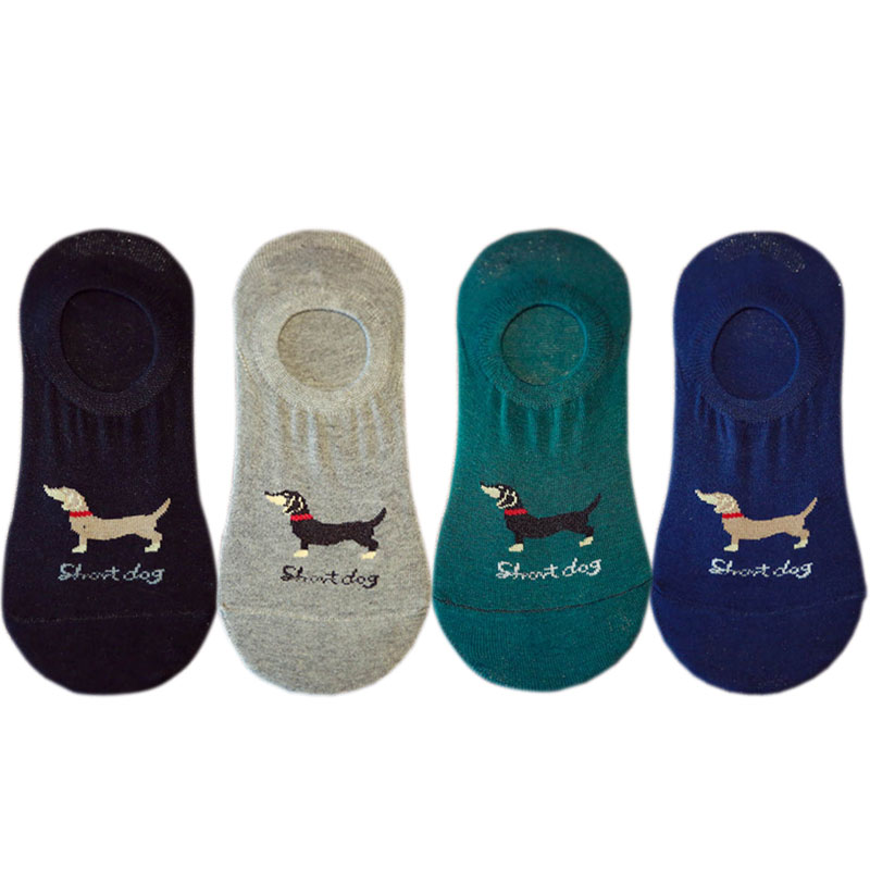EU 36-42 Korean Cute Women Unisex Dachshund Low Cut   Socks   No Show Funny Female Pet Dog Animals Non-slip Invisible   Sock   Cheap