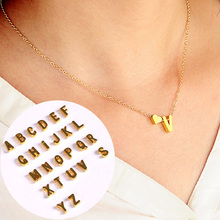 1PC Hot Fashion Golden Silvery 26 English Letters Alloy Heart Link Chain Short Necklace Pendant Necklace