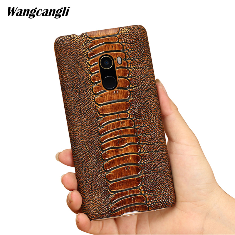 Cowhide ostrich foot texture phone case for xiaomi redmi note 5 custom made phone case Genuine leather Mobile phone cover