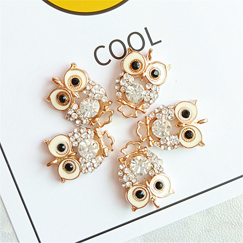 10pcs Quality Fashion Charms Gift Enamels Rhinestone Owl Alloy Pendant DIY Bracelet Necklace Earrings Jewelry Accessories 2019(China)