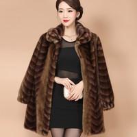 fur coat real mink fur poncho fur coats women real Mink hair mink fur coffee color printed pattern 2017 new mink brand VA long