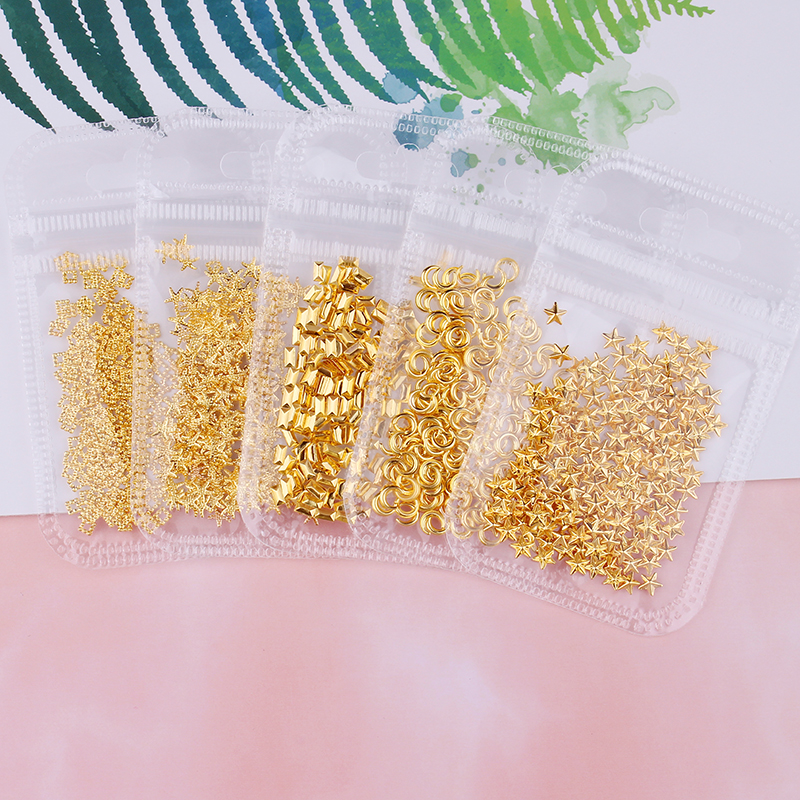 200Pcs Bag Hollow Metallic Frame 3D Nail Rivet Studs Decoration Shiny Charm Metal Rivet Manicure Accessories Nail Art Decoration in Rhinestones Decorations from Beauty Health