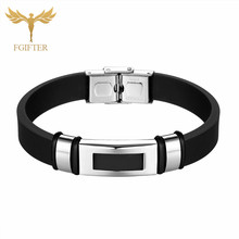 Punk Men Jewelry Black Silicone Bracelet Stainless Steel Clasp Fashion Bangles for 20cm