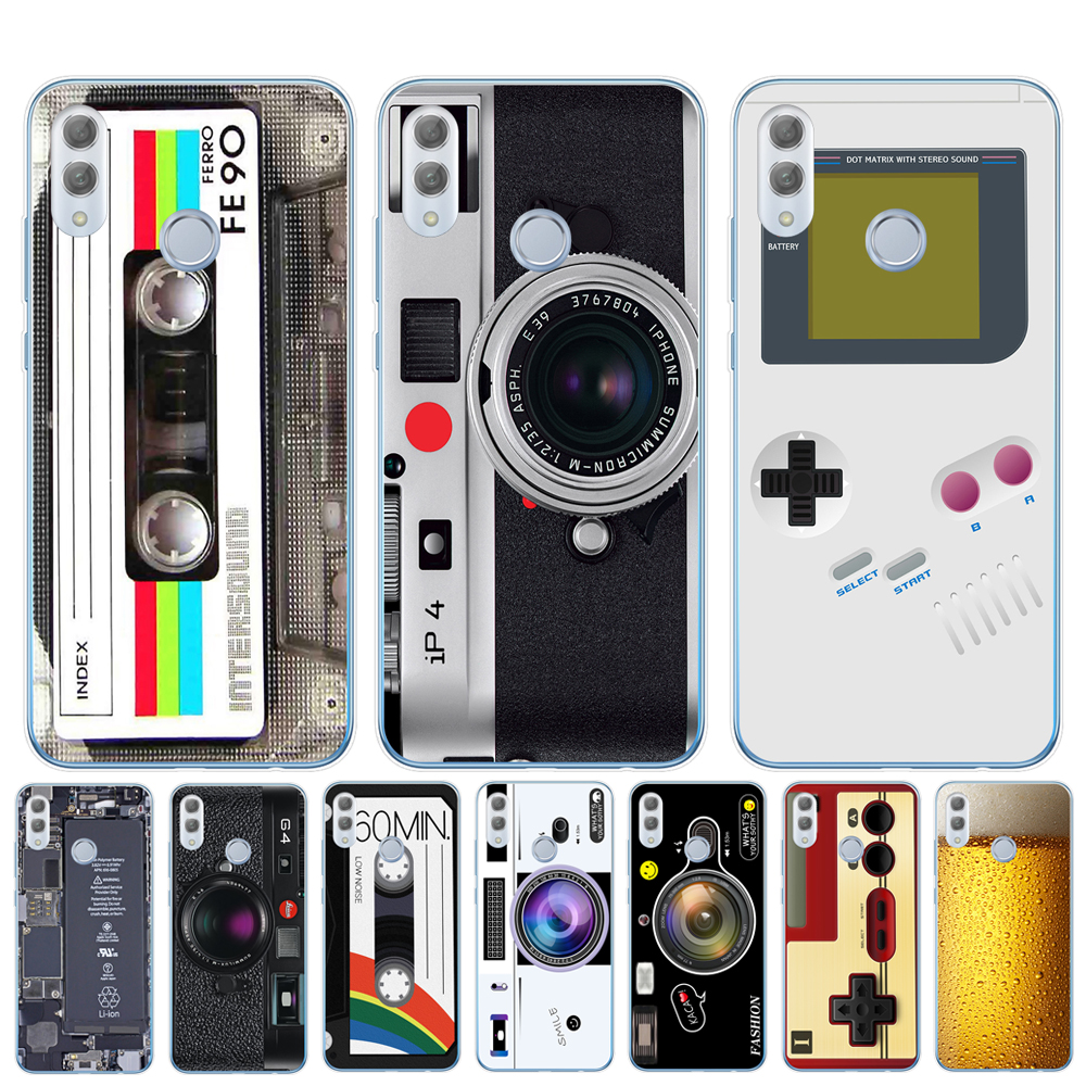 Vintage Tape <font><b>Camera</b></font> Gameboy Phone Case For Coque Huawei <font><b>Honor</b></font> <font><b>9</b></font> 10 20 Lite10i 8X 8C Y5 Y6 Prime 2018 Y9 2019 <font><b>Cover</b></font> Cases Capinha image
