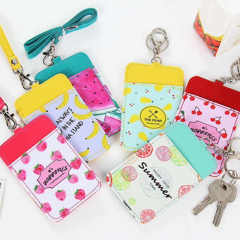 1pc Cute Cartoon Fruit Modelling Lanyard Card Holder Kawaii Stationery Card Stand Card Holder Bus ID.jpg q50