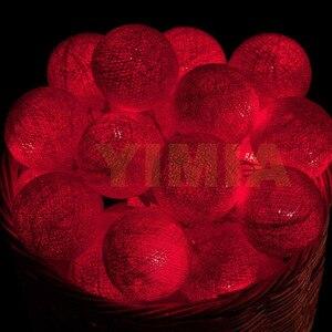 Image 4 - 5 m 50 Vermelho Bolas de Algodão Fada LED String Luzes Do Feriado das Luzes de Natal Guirlandas AC Alimentado Por Bateria Em Casa Decoração do casamento 116