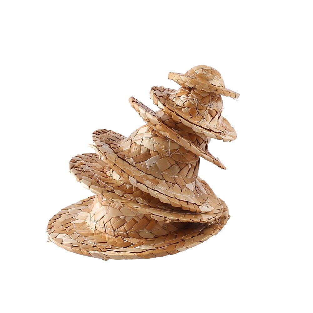 DIY соломенная шляпа Плетение ручной работы фигурка украшение игрушки Детские Картины Сделай Сам трава шляпа украшение креативное искусство для куклы аксессуары