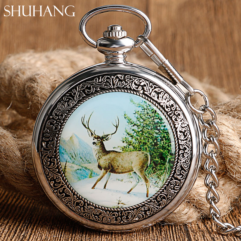 SHUHANG Elegant Mechanical Watch for Men Women Moose Elk Deer Style Nurse Pendant Hand Winding Pocket Watch with FOB Chain 2017 shuhang rose cooper mechanical hand winding pocket watch octagon shape roman number skeleton clock pendant with chain best gift