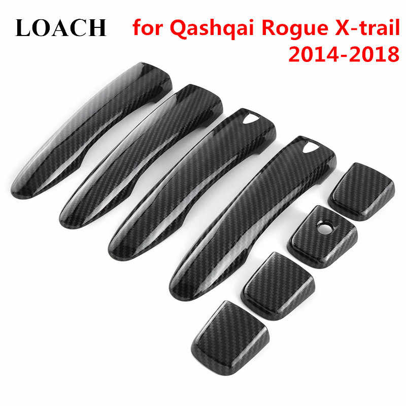 Carbon Fiber Exterior Door Handles Cover Trim for Nissan Qashqai J11 Rogue X-trail 2014-2018 2015 2016 17 Outside Case Stickers