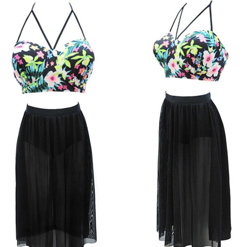 Plus Size S-4XL Swimsuits High Waisted Bikinis Long Skirt New Arrival Retro Swim Suits Sexy Gauze Transparent Bikinis Women