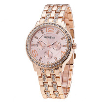 High Quality Women Watch Classic Geneva Steel Strip Luxury Rhinestone Bracelet