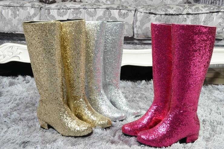 European fashion bling knee high boots rose gold silver boots runway shoes Autumn new style shoes wedding bride shoes plus size