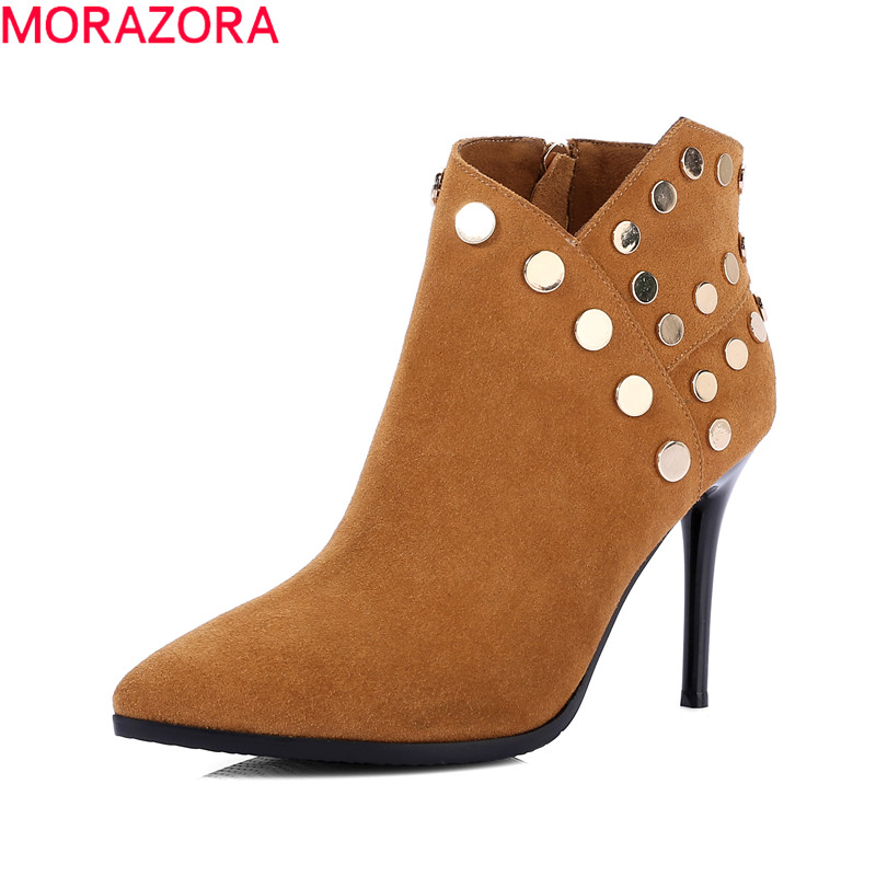 MORAZORA women fashion top quality boots hot sale autumn new arrival ankle boots pointed toe rivets high heel boots