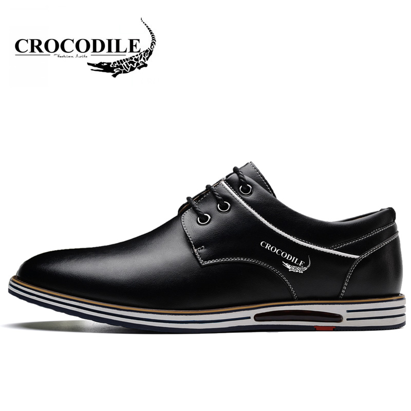 Crocodile Original 2018 New Men Walking Shoes Male Leather Working Shoes Running Jogging Sneaker for Men's Flat Sport Shoes 2017 new spring imported leather men s shoes white eather shoes breathable sneaker fashion men casual shoes