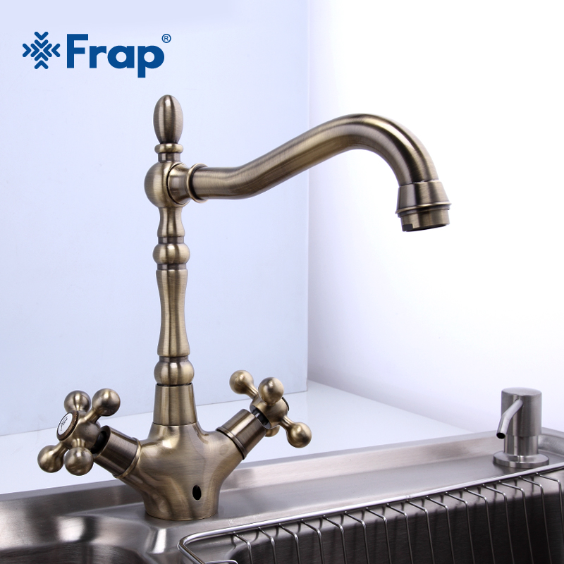 Frap Kitchen Faucets Antique Brass Bathroom Sink Faucet Spout Double Cross Handle 360 Degree Swivel Bath Basin Mixer Tap F4019-4 frap kitchen faucets antique brass bathroom sink faucet spout double cross handle 360 degree swivel bath basin mixer tap f4019 4