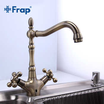 Frap Kitchen Faucets Antique Brass Bathroom Sink Faucet Spout Double Cross Handle 360 Degree Swivel Bath Basin Mixer Tap F4019-4 - DISCOUNT ITEM  50% OFF All Category