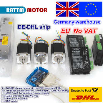 EU free VAT 3 Axis CNC controller kit NEMA23 270oz-in stepper motor & CW5045 driver 256 microstep 4.5A & 350W 36V power supply - DISCOUNT ITEM  10% OFF All Category