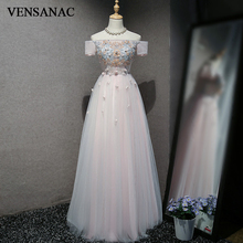 VENSANAC 2018 Boat Neck Lace Flowers Long A Line Evening Dresses Vintage Appliques Party Embroidery Prom Gowns
