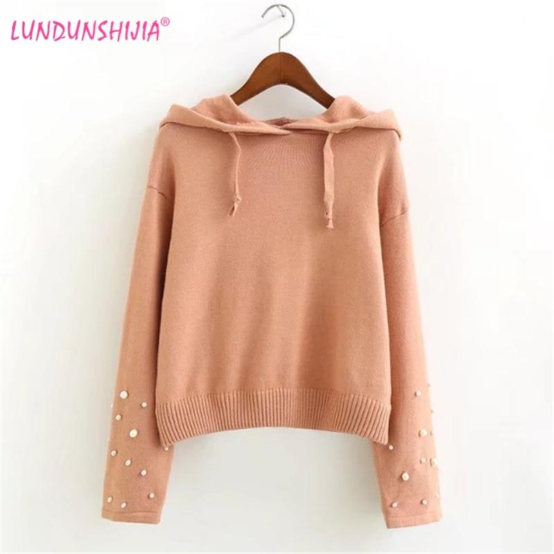 LUNDUNSHIJIA Women Hoodies 2017 Autumn Long Sleeve Crop Tops Casual Beaded  Hooded Knitting Short Sweatshirts Moletom Feminino-in Hoodies   Sweatshirts  from ... a271cad1deaf