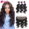 13x4 Ear To Ear Lace Frontal Closure With Bundles 7A Peruvian Body Wave With Frontal Closure Peruvian Virgin Hair With Closure