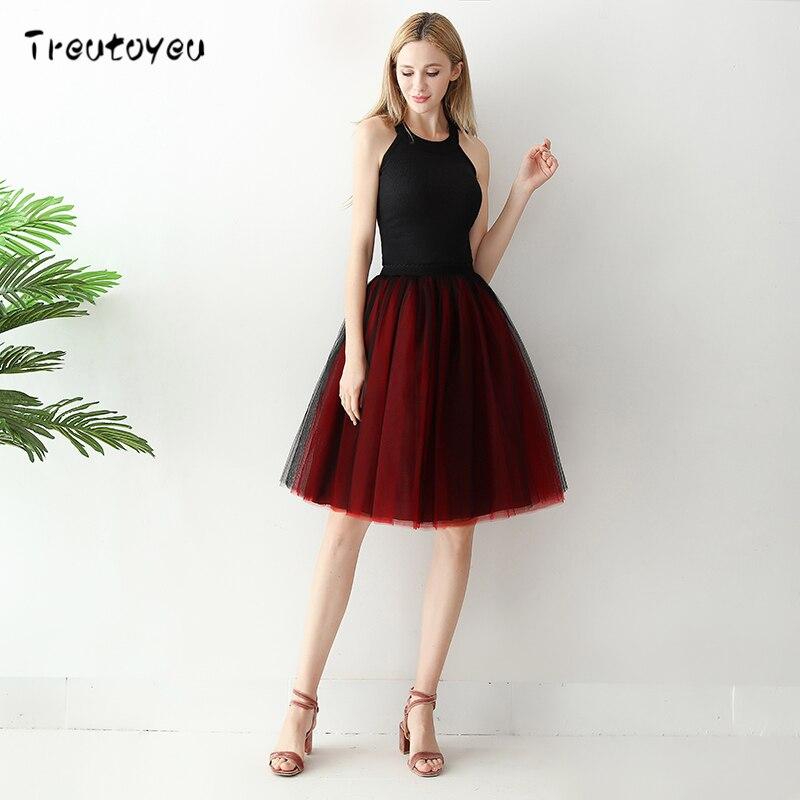 Faldas para mujer 6 capas Midi de tul falda elegante falda Tutu ... 6bf0867ac840