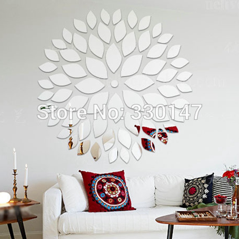 nueva llegada grande m redondo de acrlico adhesivo espejo decorativo hojas ptalos de mosaico pegatinas