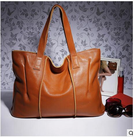 ФОТО Genuine Cowhide Leather Casual Women Tote Handbag Big Size Simple design European American Fashion, 2016 new, Free Shipping