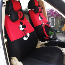 MUNIUREN Cute Universal Car seat Covers Cartoon Mickey Seat Covers Car interior Accessories for Mesh Car Seat Protector 12pcs