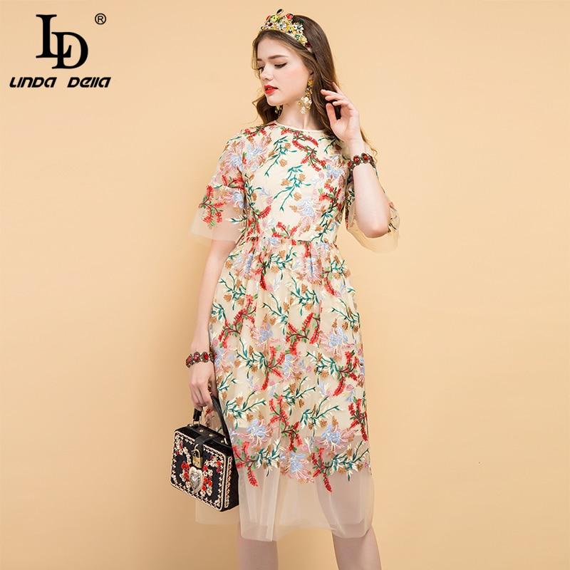 LD LINDA DELLA 2019 Fashion Runway Summer Dress Women s Floral Embroidery Mesh Overlay Elegant Party
