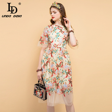 LD LINDA DELLA 2019 Fashion Runway Summer Dress Women's Floral Embroidery Mesh Overlay Elegant Party Vintage Midi Ladies Dresses