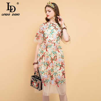 LD LINDA DELLA 2019 Fashion Runway Summer Dress Women's Floral Embroidery Mesh Overlay Elegant Party Vintage Midi Ladies Dresses - DISCOUNT ITEM  20% OFF All Category