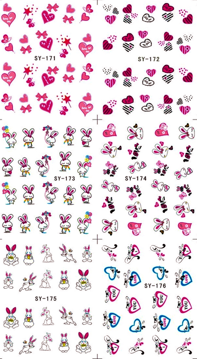 6 PACK/ LOT  GLITTER WATER DECAL NAIL ART NAIL STICKER SWEET HEART VALENTINE RABBIT EASTER EGG SY171-176 4 packs lot full cover white french smile lace tattoos sticker water decal nail art d363 366w