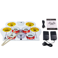 Фотография Portable Silicone USB Roll Up Electronic Drum Kit Set with Drumsticks Foot Pedal Musical Instrument