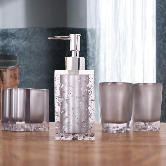 Haut de gamme résine salle de bains série salle de bain ensemble accessoires glace cristal diamant savon plat tasse Lotion bouteille lavage tasse cadeau de mariage - 6