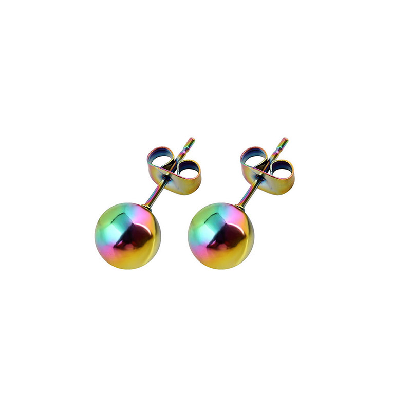 Stainless Steel High Quality Multi Color Polishing Round Ball Stud Earrings Safe Prevent Allergy Pins Size 2 8mm For Femmal Brin In From