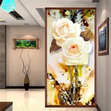 PSHINY 5D DIY Diamond embroidery Brilliant White Rose Flowers Picture Full Square rhinestone Painting cross stich