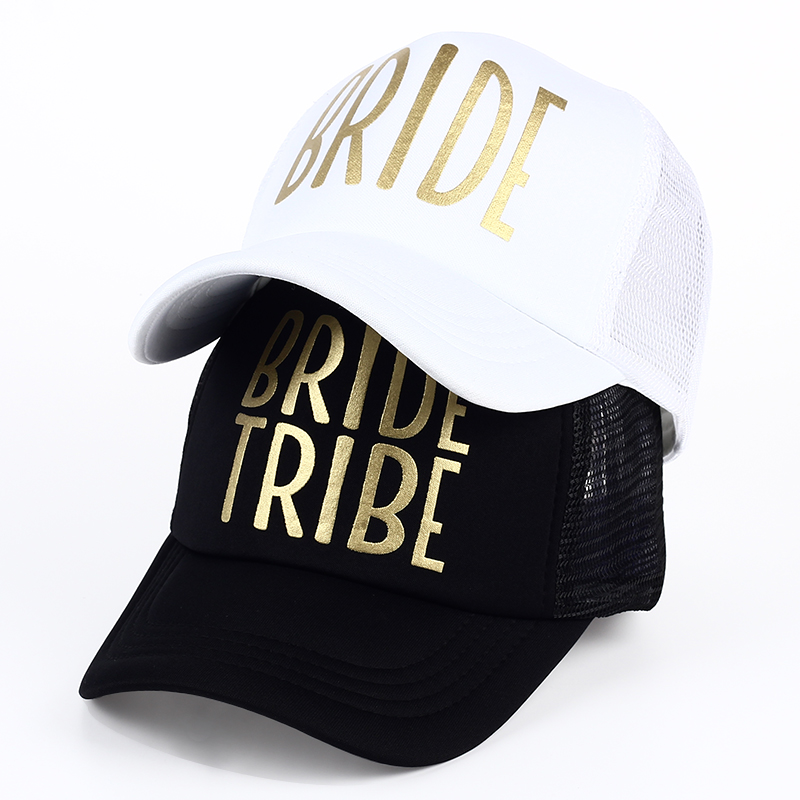 BRIDE TRIBE Gold Print Mesh Hat Women Wedding Baseball Cap Party Hat Brand Bachelor Club Team Snapback Caps Summer Beach Girl cntang brand summer lace hat cotton baseball cap for women breathable mesh girls snapback hip hop fashion female caps adjustable