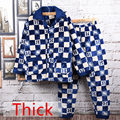 Tops+Pants Winter Men's Pajamas Super Thick Warm Plaid Flannel Mens Pyjama Sets Lounge Sets Wool Male Sleepwear Homewear Men
