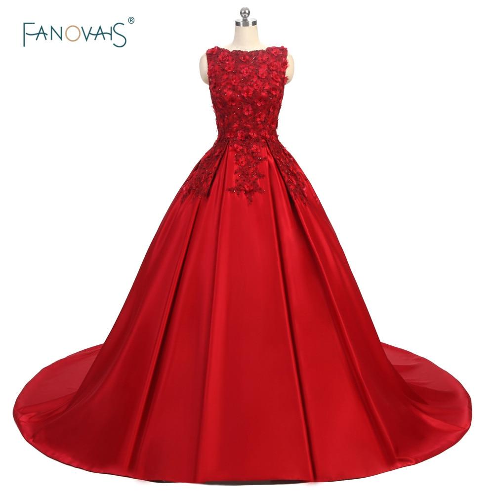 Foto real elegante vestido de noche rojo 2017 Lady Floral con cuentas - Vestidos para ocasiones especiales