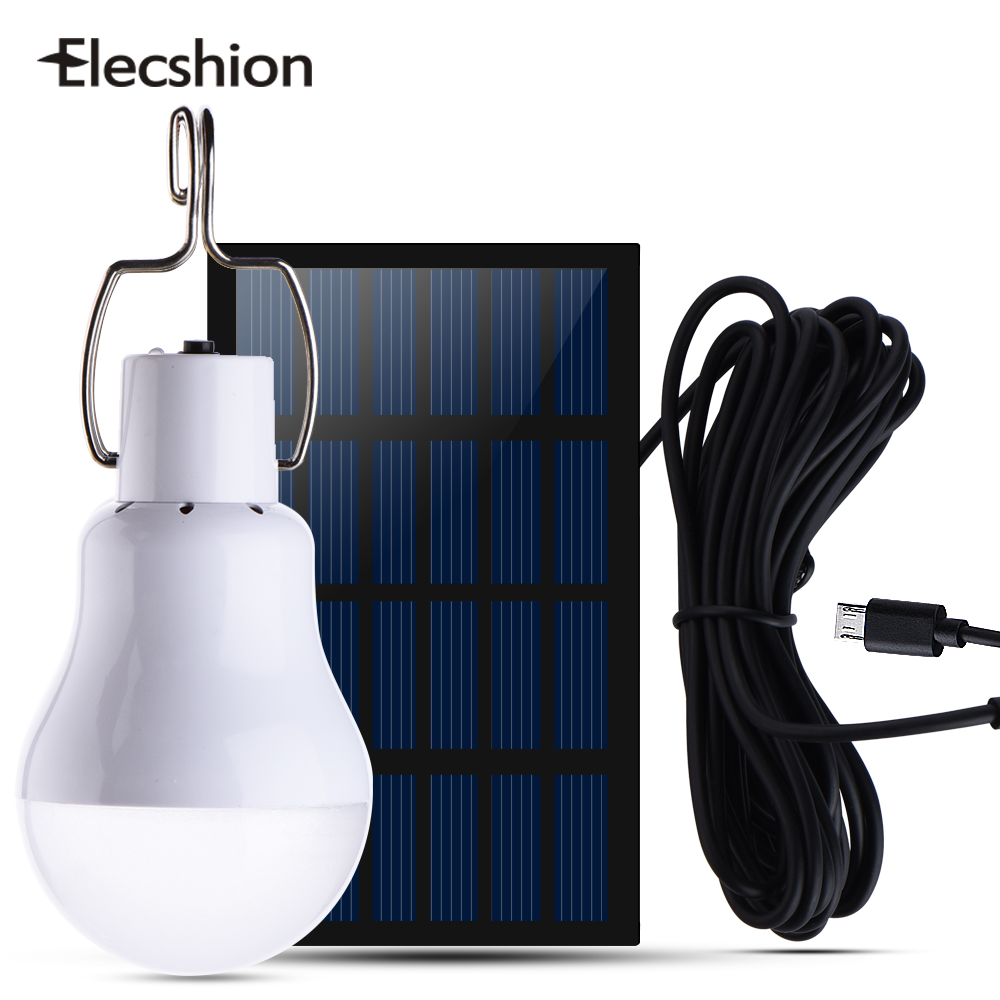 Elecshion Solar Power Led Energy Camping Bulb Light Lamp 15W Outdoor Garden Lawn Tent Fishing Travel Night Light Used 5-6hours outdoor camping light camping lamp night market stall tent lamp home emergency lamp charging led lamp mobile power function