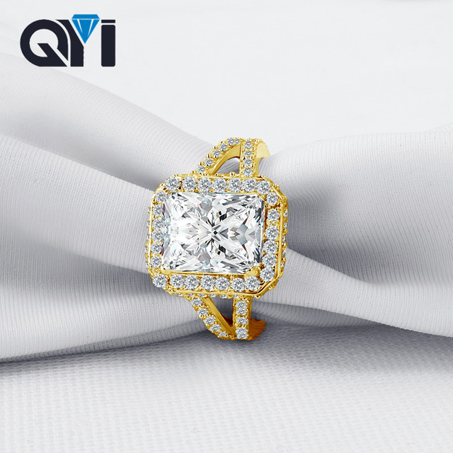 QYI 14K Solid Yellow Gold Vintage Style Split Band Rings Rectangle Cut Sona Simulated Diamond Rings For Women