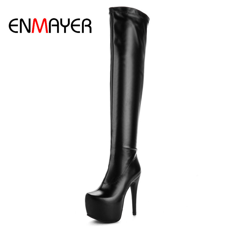 ENMAYER Womens Boots over-knee Round Toe Fashion Warm Super High Platform High Heels for Women Winter PU Solid Boots радиоуправляемый инверторный квадрокоптер mjx x904 rtf 2 4g x904 mjx