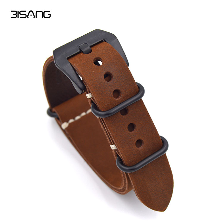 1PCS High quality 20mm 22mm 24mm 26mm Bracelet Straps Genuine Leather Watch band For NATO Strap Watchband high quality 18mm 20mm 22mm 24mm 26mm strap genuine leather watch band for nato straps silver black brown gray strap
