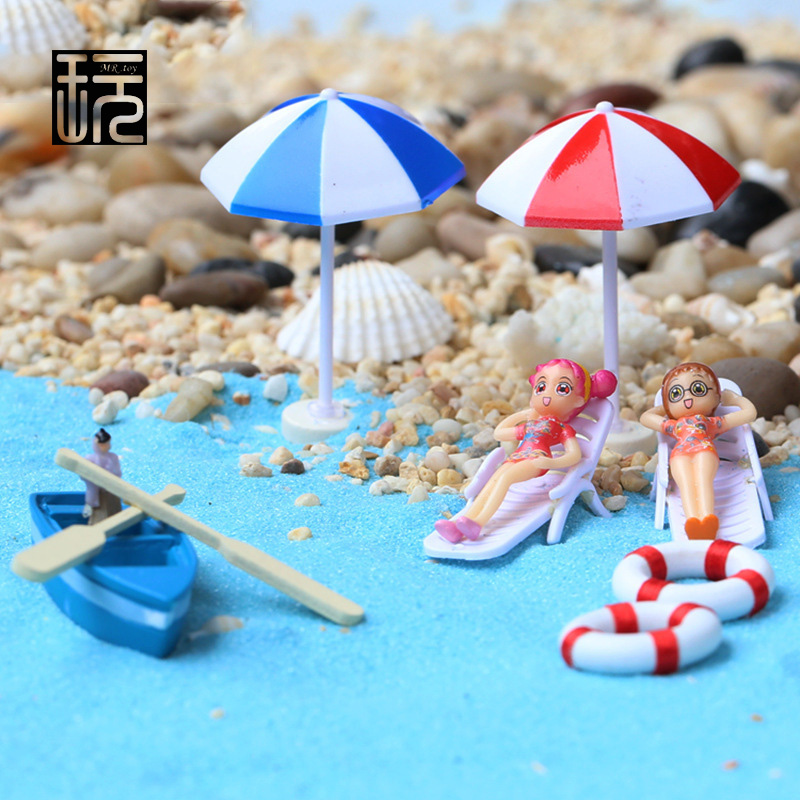 Boat/ Anchor/ Beach Chairs/ Sun Umbrellas/ Blue Sand Micro Seascape Decoration Fairy Garden Miniatures Zakka Craft wholesale