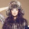 Grossa inverno Quente imitação raposa chapéus de pele de vison fêmea lazer selvagem feminino Personalidade Natal skullies tampas de Leopardo Outono