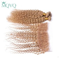 MQYQ Pre Colored #27 Brazilian Curly Hair Lace Frontal Closure With Bundles Kinky Curly Human Hair 3 Blonde Bundles With Closure