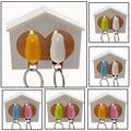 2016 ювелирные изделия брелок для ключей Свисток Птица Дом пара брелок Настенное Крепление Крюк Держатель Пластиковые Воробей брелки