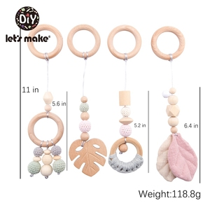 Image 1 - LetS Make 4Pc/Set Baby Teething Pacifier Necklace Hanging Toy Wooden Rattles Toys For Children From 0 12 Months  Teether