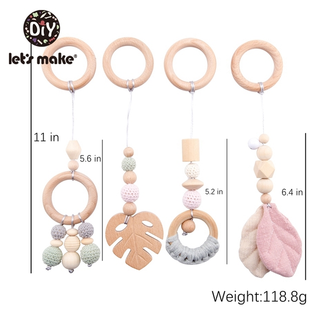 LetS Make 4Pc/Set Baby Teething Pacifier Necklace Hanging Toy Wooden Rattles Toys For Children From 0 12 Months  Teether