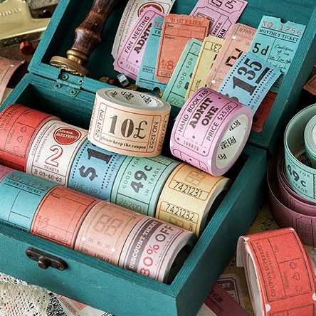 30mm*5m Retro Stamp Series Vintage Coupon Ticket Gift Certificate Stub Bill Time Stamp Washi Tape DIY Scrapbooking Masking Tape